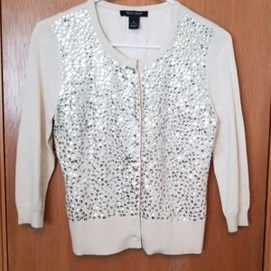 WHBM Ivory Sequined Cardigan Sweater sz sm
